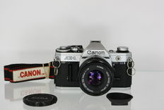 Canon AE-1 with Canon Lens FD 50 mm F1.8 - very good condition - large aperture lens