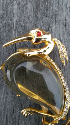 Crown Trifari 1940s Jelly Belly Heron Brooch - Alfred Philippe