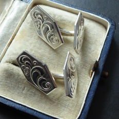 Old silver double-sided Jugendstil cufflinks, around start of 1900