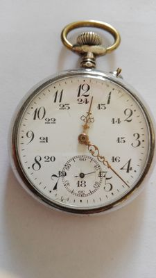 Silver-plated steel men's pocket watch, 1950s