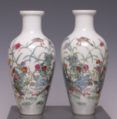 Pair of Famille Rose porcelain vases - geese and flowers - China - second half of 20th century