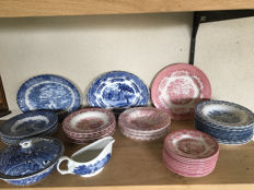 large lot of English landscape crockery service