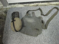 Luftwaffe brotbeutel with belt and a water bottle with drinking cup.