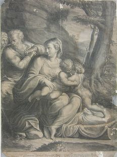 Two impressions by Cornelis Bloemaert (1603-1692) - Holy Family and St. John / The Holy Family with the infant St John the Baptist embracing the Christ child - ca. 1650