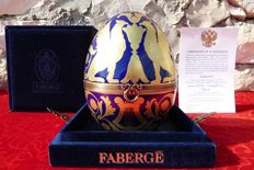 "Authentic Fabergé Imperial egg (18 cm / 500g) - Collection ""Double Griffin Egg"" - porcelain from Limoges (France) - gold paint 24 k - hand painted"