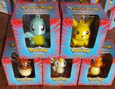 Lot of 5 Pokemon Decorative Ornaments - Pikachu, Charmander, Squirtle, Eevee & Meowth - Nintendo 1999