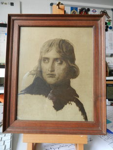 Lithograph of the young Napoleon and a bronze alloy plaque of the Emperor Napoleon
