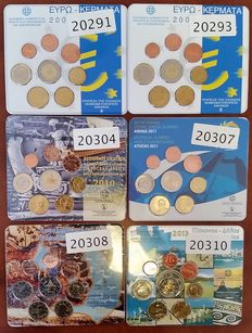 Greece - 6 x Annual Euro Set Coin 2002/2003/2010/2011/2012/2013