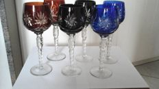 Six coloured crystal cut wine glasses, 2nd half of 20th century