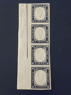 Sardinia, 1863 - 20 Cent, indigo with effigy printed on the left edge, strip of four specimens, Sassone no. 15E