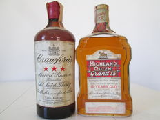 2 bottles - Highland Queen 15 years old 1960s & Crawford's Special Reserve 1970s