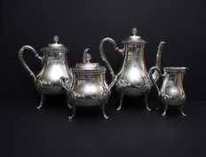 4 piece service coffee -tea made of Sterling silver, Emile Puiforcat, France, 1857-1880