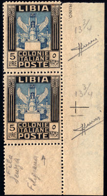 Former Italian colonies, Libya, 1921 – Pictorial – 5 Lire – Pair – Variety without watermark.