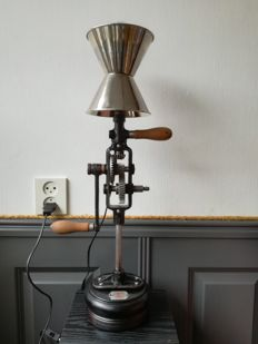 Lamp, made from an old hand drill.