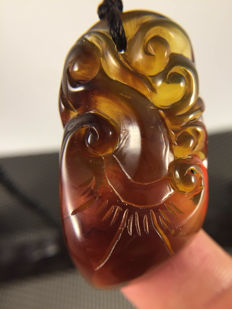 Burma Amber carved pendant, weight 18.5 gr, No reserve price