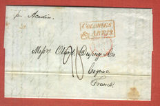 Boston 1844 - folded letter to Cognac, using Anglo/French Postal Convention shipped with ACASIA
