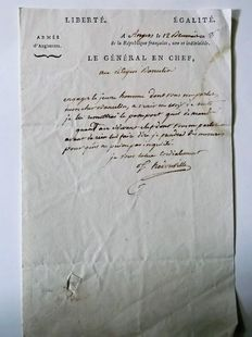 Autograph letter of the Chief General of the army of England Comte d' Hedouville, chief of staff of Jerome Bonaparte in Prussia and Austria 12 Brumaire year VI