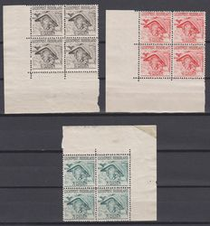 The Netherlands 1929 – Airmail stamps Mercury – NVPH LP6/LP8 in blocks of 4