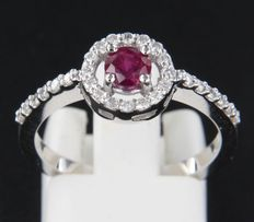 14 kt White gold entourage ring with ruby and 27 brilliant cut diamonds of approx. 0.22 carat in total – ring size 17.5 (55)