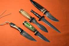 5 X Original Damascus Knive Handmade Hunting Knives with Cow Hide Leather