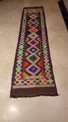 SUPERB Hand Made Suzni Kilim Runner - No Reserve - Beautiful Colours - 250 x 62 cm