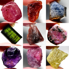 Lot of Ruby, Garnet, Sapphire, Tourmaline, Amethyst and Sphene (9) 124.30ct Total