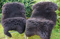 Two nature gold-brown, high-quality, thick and very soft lambskins / sheepskins