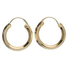 Yellow gold, 14 kt earrings with elegant decoration – 16 mm