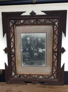 Antique picture frame tramp art - England - 1890