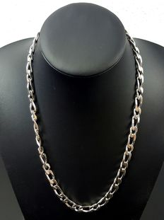 Silver Figaro link necklace, length: 57 cm, width: 8 mm, weight: 74 g, 925 kt