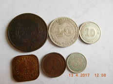 Straits settlements – ¼ cent to 20 cents 1845/1932 – 6 coins including 3 silver.