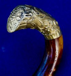 Horse dealer cane in bamboo and head in 18 carat gold - France - ca. 1920