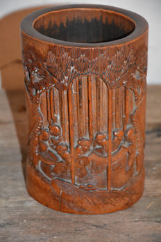 Rare bamboo brush pot with scene of 7 wise men - China - late 19th/early 20th century