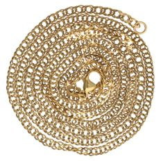 Yellow gold double curb link necklace – Length: 60.2 cm