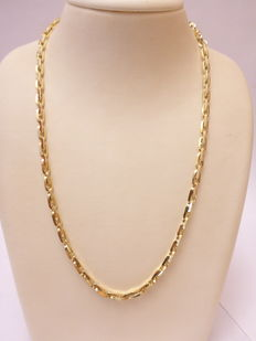 Gold necklace angular links