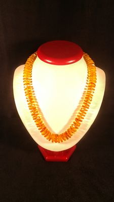 Baltic amber round-flat faceted beads necklace, 42 grams