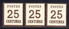 Old Germany NDP 1870 - French Occupation Zone digits 25 C Michel 7I x 3