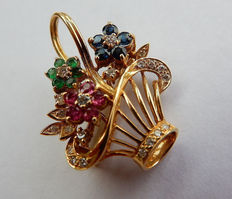 Pendant / brooch flower basket made of 750 / 18 kt gold with natural rubies, sapphires, emeralds and brilliant-cut diamonds - circa 1960