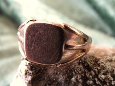 British Antique 9 ct Rose Gold signet ring dated 1918