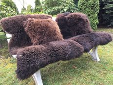 Unique pieces - lot with 2 very large nature brown sheepskins/lambskins