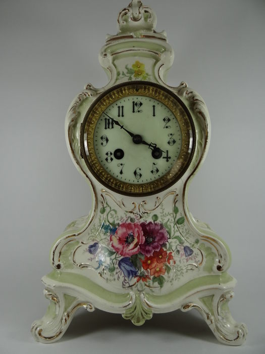 French Rococo ceramic porcelain mantel clock - 19th century France