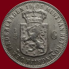 The Netherlands – ½ guilder 1905 Wilhelmina – silver.