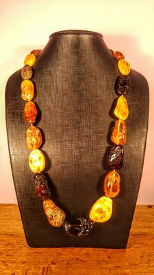 Genuine long Baltic Amber mixed colours necklace, Italian style, 141 grams