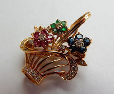 Pendant / brooch, flower basket made of 750 gold / 18 kt with rubies, sapphires, emeralds and diamond brilliants