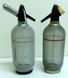 Two gorgeous Seltzer bottles or soda siphon, second half 20th century