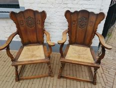 Two antique castle chairs/his and hers - late 19th/early 20th century
