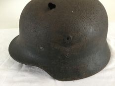 German helmet M-40 WW2. Luftwaffe Remains of decal