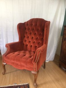 Victioriaanse walnoot hout oorfauteuil of wingchair - Engeland - circa 1890
