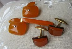 Set with 2 pairs of Russian amber cufflinks and tie pin, weight is 21 g together.