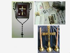 Rosary beads, pendant with relic, cross behind convex glass, art deco candlesticks and cross, missal and loose prayer leaflets, after 1908